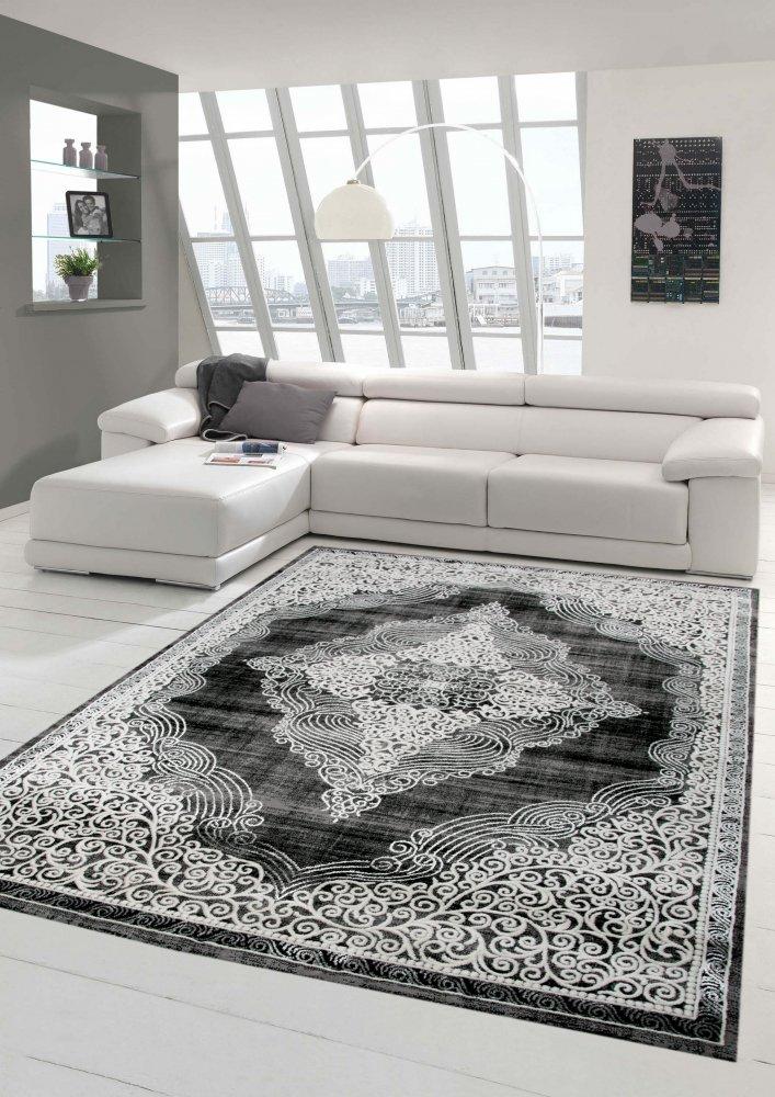 Designer und Moderner Teppich Orientteppich Wohnzimmerteppich in Grau Schwarz Größe 120x170 cm