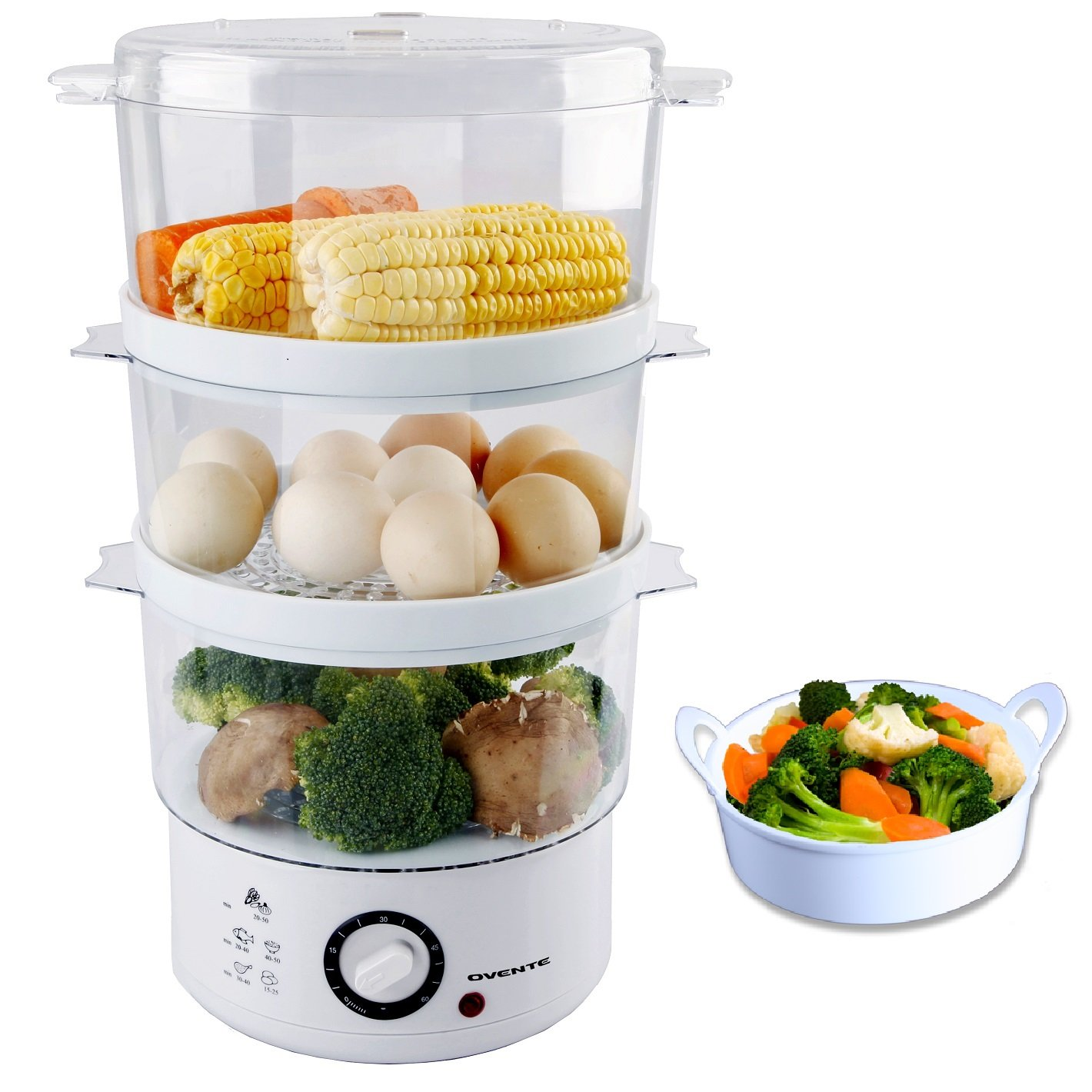 Ovente 7.5-Quart 3-Tier Electric Food Steamer with Rice Bowl