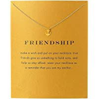 QXFQJT Sun Y Necklace Friendship Anchor Unicorn Elephant Flower Pendant Chain Necklace with Meaning Card