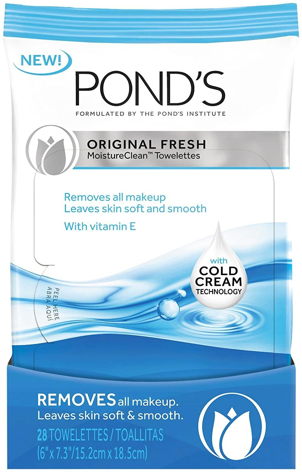Pond's Original Fresh MoistureClean Towelettes With Cold Cream Technology 28 count