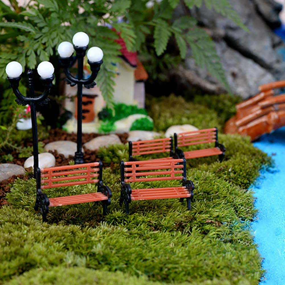 Whiie891203 Miniature Fairy Garden Creative Mini Park Bench Model Miniature Landscape Garden Decorative Ornament L