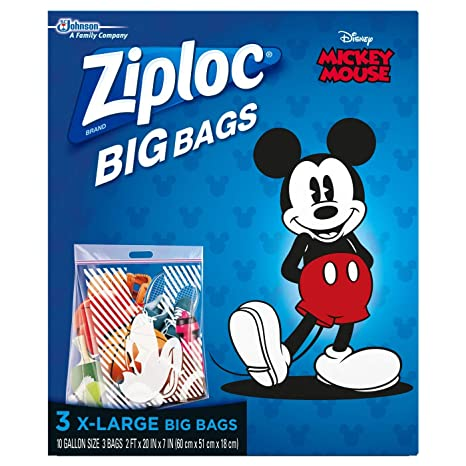 Ziploc Disney Mickey Mouse Extra Large Big Bags - 3ct. (2 PACK)