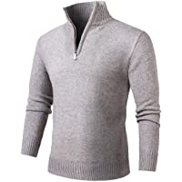 NALANION Mens Casual Wool Blend Pullover Sweaters 1/4 Zip Collar Knitted Sweater