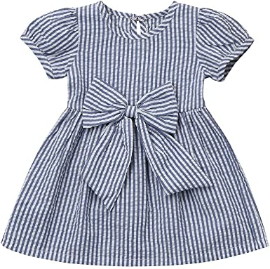 Kids Girl/'s Cute Bownot Striped Splice Short Sleeve Summer Casual Party Dress