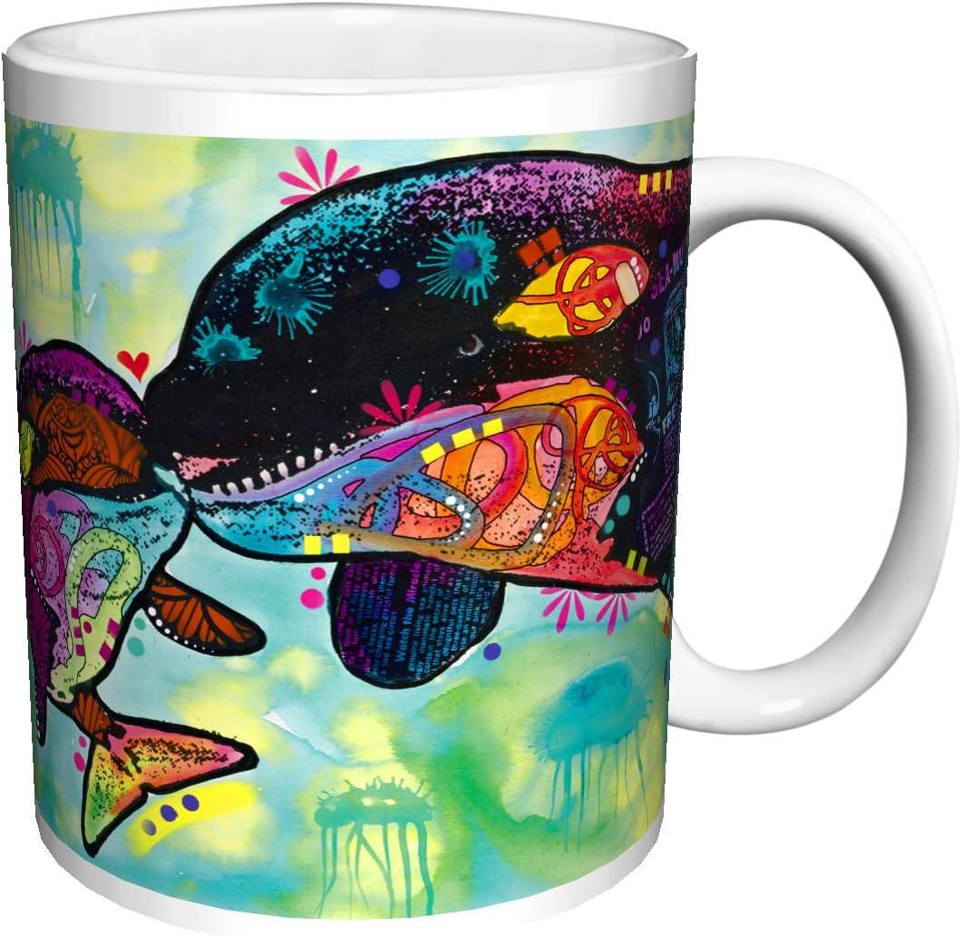 Dean Russo DOLPHIN LOVE Modern Animal Art Ceramic Gift Coffee Tea Cocoa (11 OZ C HANDLE CERAMIC MUG)
