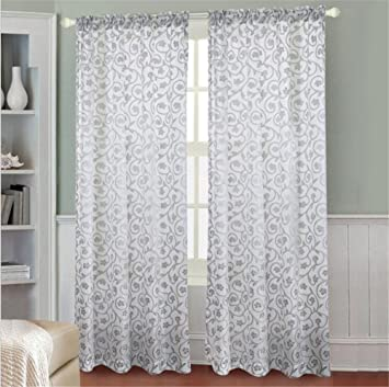 YIH Floral Curtains For Living Room 95 Inch Length Thermal Insulated Blackout Curtain Drapes