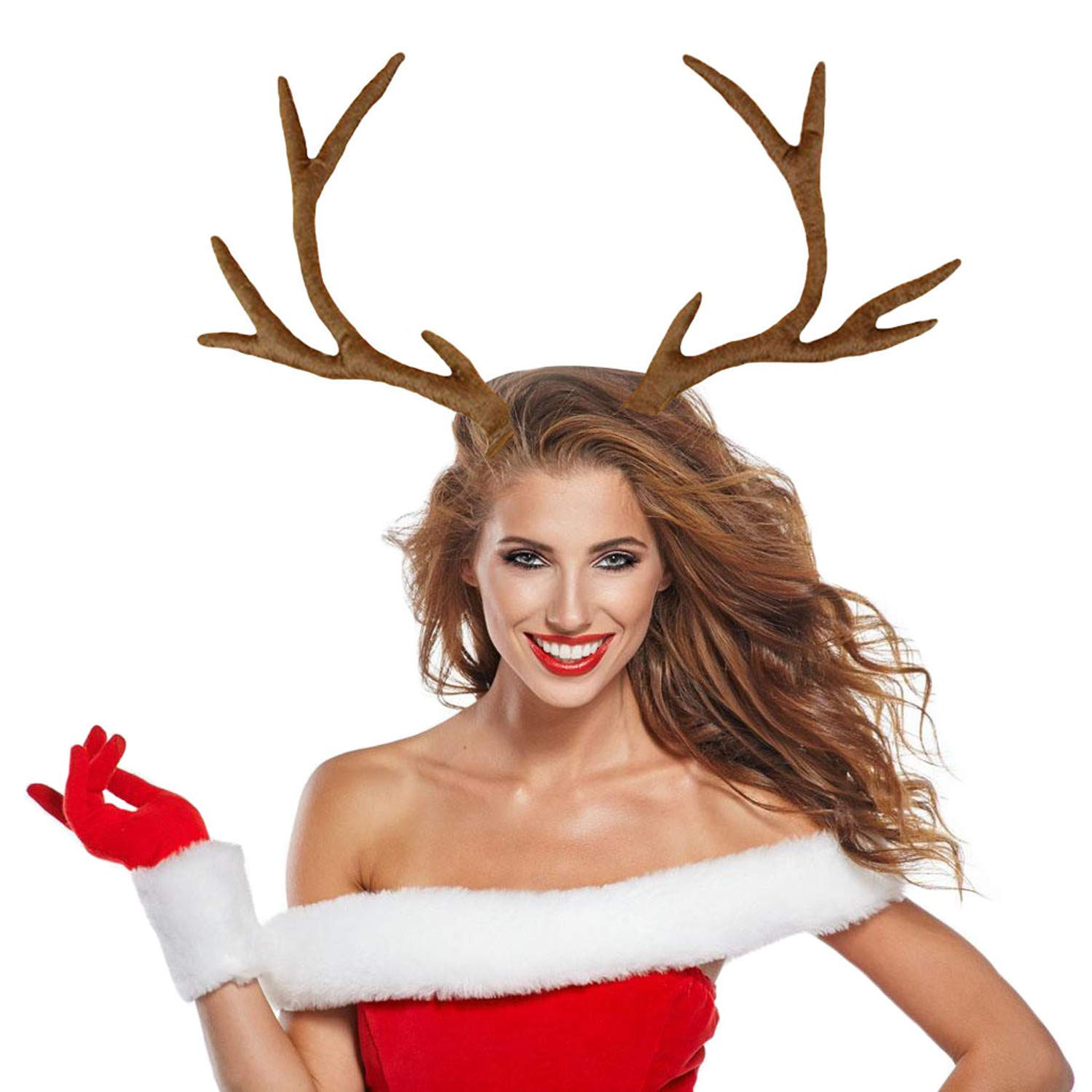 M&G House Reindeer Antlers Headband Christmas and Easter Party Short Plush Headbands (Brown) by M&G House