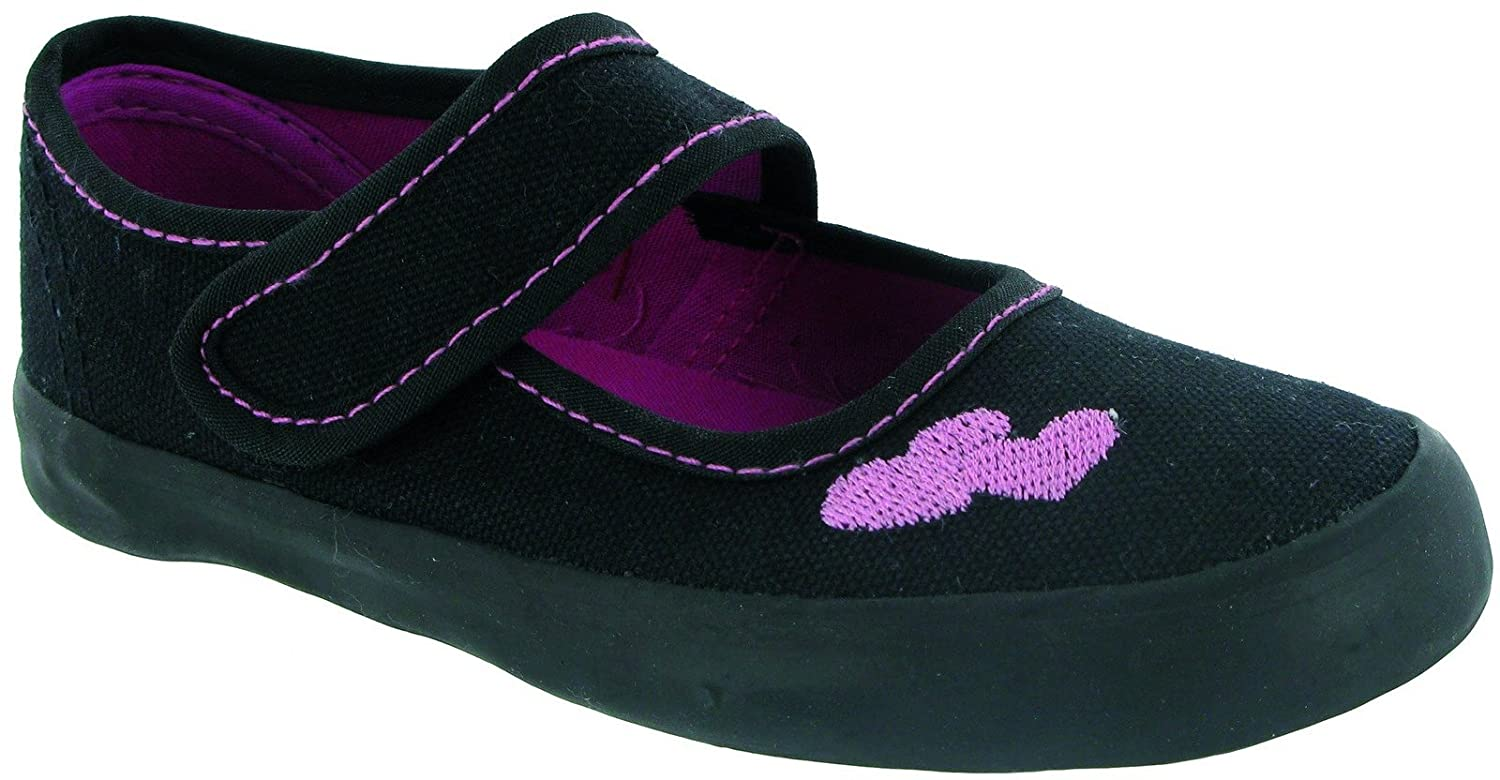 Fashion style Tick Girls Black Touch Fasten Bar Plimsolls Shoe-81275 for lady