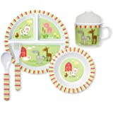 C.R. Gibson 5 Piece Kids Dinnerware Set, FDA Approved Melamine, BPA Free, Dishwasher Safe- Friendly Farm