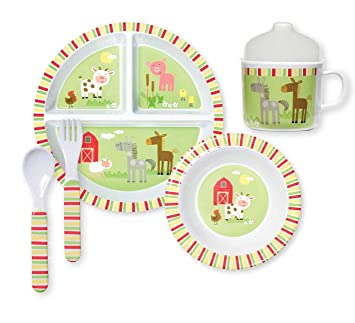 C.R. Gibson 5 Piece Kids Dinnerware Set FDA Approved Melamine BPA Free Dishwasher  sc 1 st  Amazon.com & Amazon.com : C.R. Gibson 5 Piece Kids Dinnerware Set FDA Approved ...
