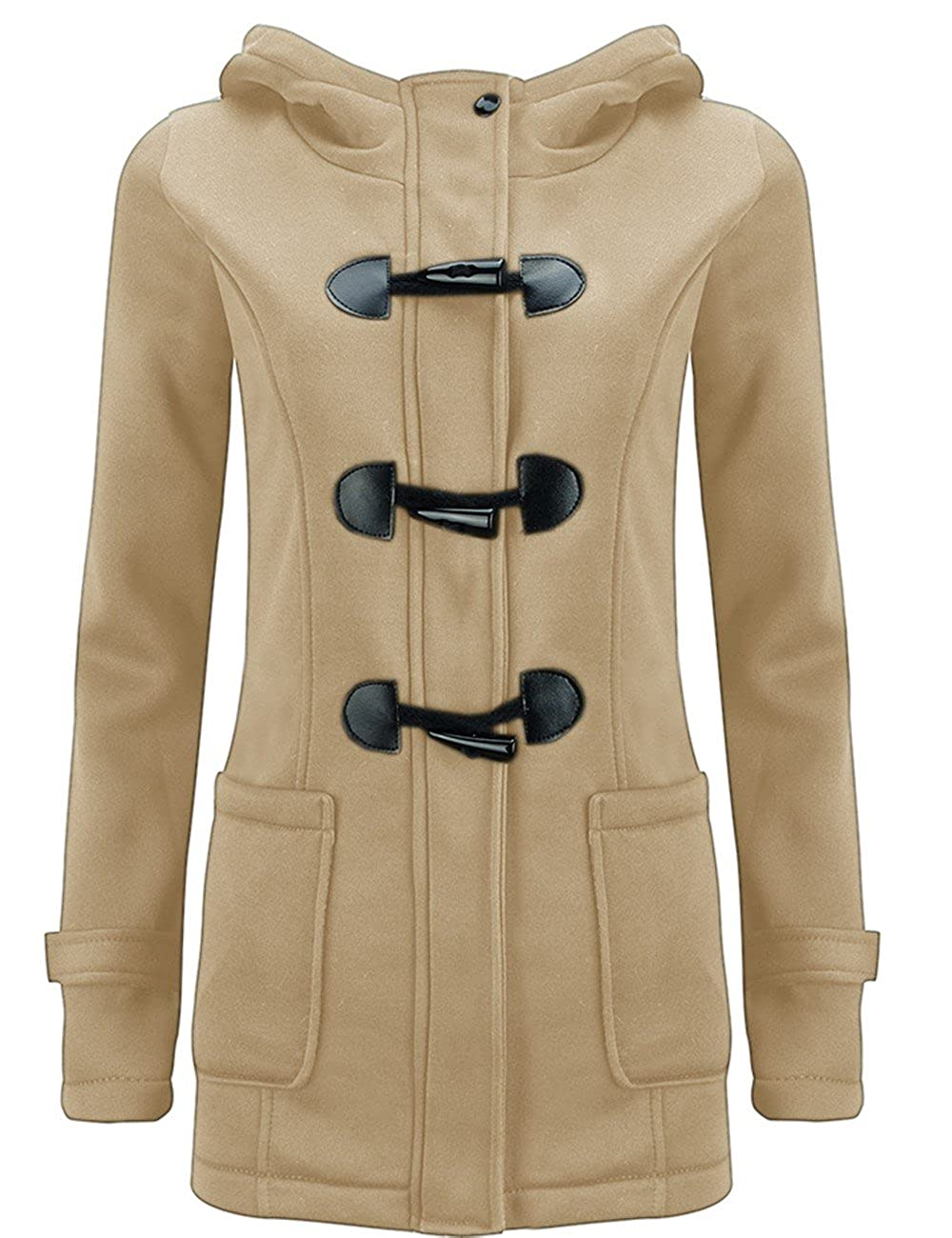 Z.M Women's Autumn Winter Pea Coat Wool Blended Hoodie Casual Button Jacket Coats