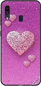 حافظة سامسونج جالاكسي A30 عليها قلوب الخوخ اللامعة على نمط قماش وردي