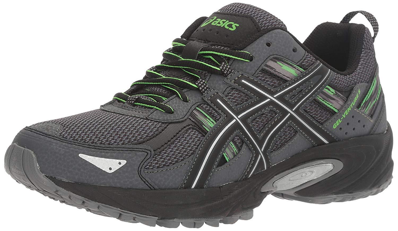 ASICS Men's Gel-Venture 5 Running Shoe, Carbon/Silver/Green Gecko, 9.5