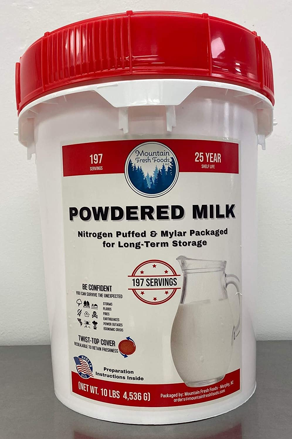 Powdered Non-Fat Milk 10 lbs in a LifeLatch 5 Gal Bucket for Survival Emergency Food Rations MRE