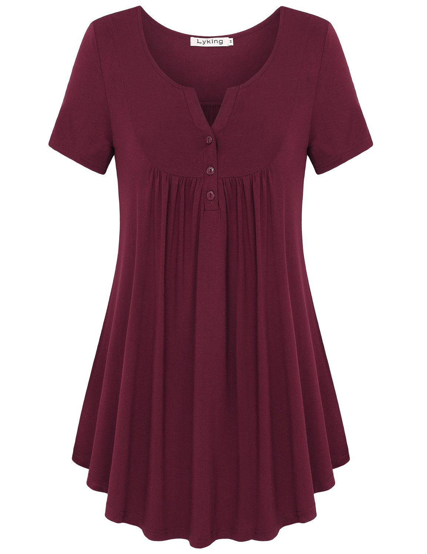 Lyking Women's Vintage Short Sleeve Henley V Neck Pleated Tunic Shirt (XL,Burgundy)
