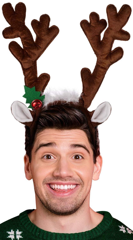 das perfekte Accessoire f/ür Erwachsene /& Kinder zu Weihnachten oder zum Karneval oder Fasching Haarreif Dunkelbraun Balinco Rentier // Elch Geweih BZW