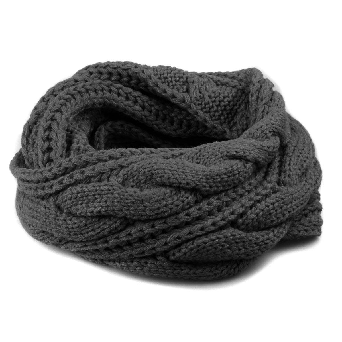 22e84cb7c48 Fletion Unisexe Femmes Hommes Tricot Laine Écharpes hiver chaud épais  foulard boucle Cercle Echarpe tricotée Snood ...