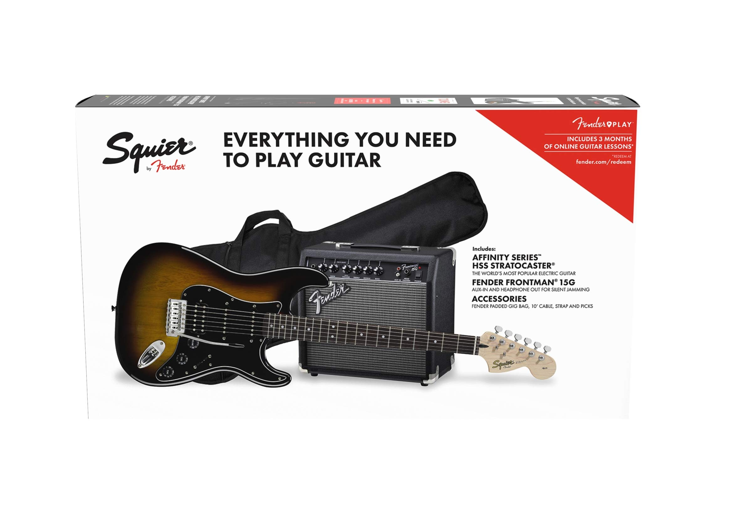 Squier by Fender Affinity Stratocaster Beginner Pack, Laurel Fingerboard, Brown Sunburst, with Gig Bag, Amp, Strap, Cable, Picks, and Fender Play by Fender