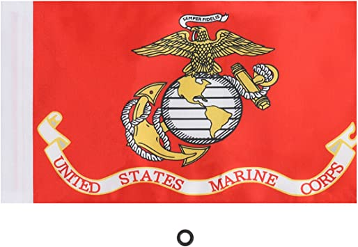 United States Marine Corps E-Most Replacement 6 x 9 Motorcycle Flag with 4//5 Sleeve for 3//8 Flag Mount Poles