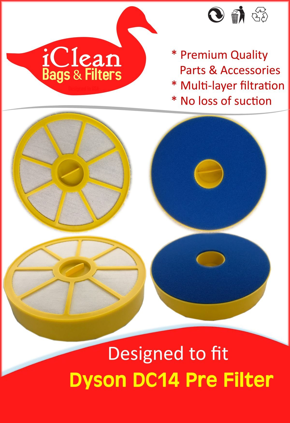 iClean Vacuums Dyson DC14 Pre Filter - 6 Pack of Replacement Filters Designed to fit 905401-01 $$ Better Quality Better Value
