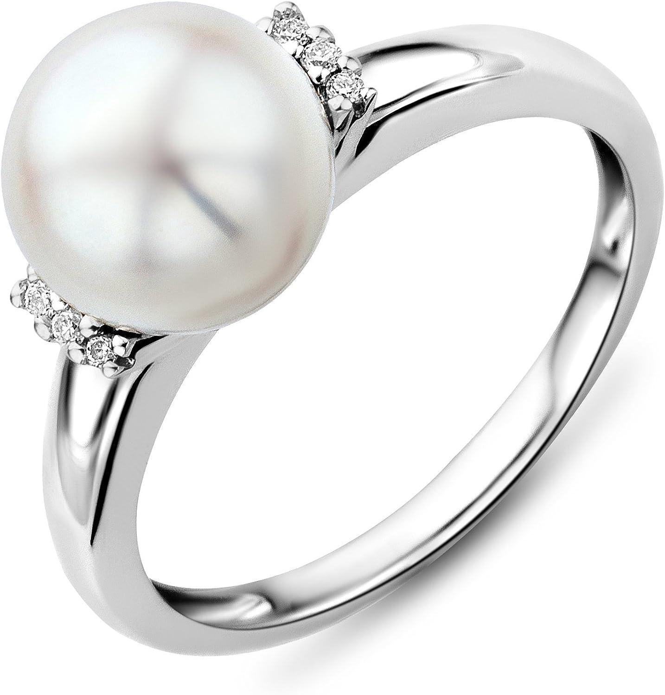 Miore Anillo de Mujer con Oro Blanco 9k, Diamantes