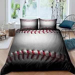 3D Sports Baseball Decor Duvet Cover Set Twin for Kids Teen Boys Girls Flame Water Bedding Set,Soft Luxury Microfiber Modern Ball Pattern Printed Comforter Cover Set,1 Duvet Cover+1 Pillow Sham