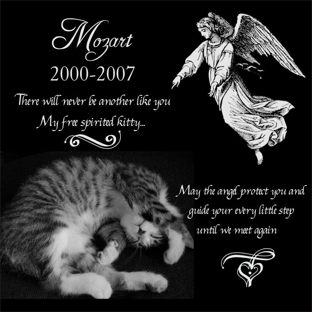 natural polished black granite pet cat memorial plaque personalised engraved