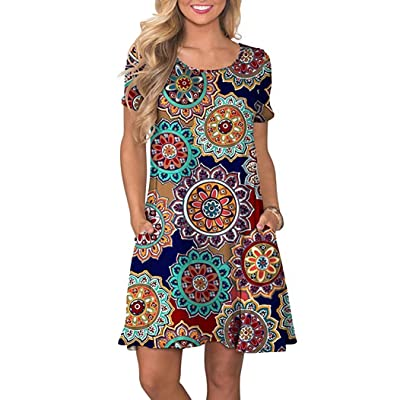 Women's Summer Casual T Shirt Dresses Beach Cover up Plain Pleated Tank Dress, Round Flower Navy Blue, Medium: Ropa y accesorios