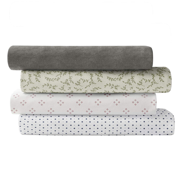Brielle Cotton Jersey Knit (T-Shirt) Sheet Set, Queen, Fern Spray Ivory