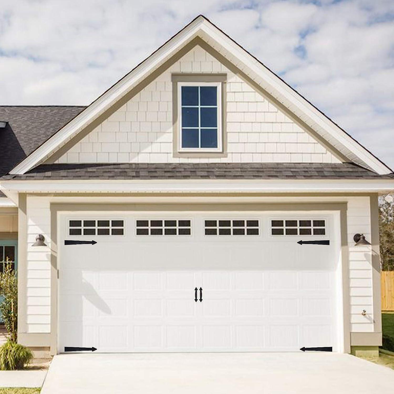 ToLanbbt Magnetic Decorative Garage Door Curb Appeal Faux Hinges Handles Hardware Kit Non-Fade PVC Small Window Panels for Metal Garage Door Decor (1 Set - 2 Handles 4 Hinges)