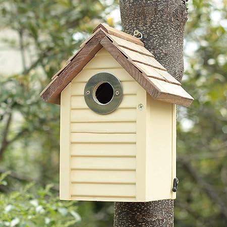 CEDAR ALPHA Premium Cedar Wooden Beach Hut Bluebird House, Bird House for Outside, Vintage Style, Stainless Steel Entrance Hole Protector, Colorful Garden Decorative (Cream Yellow)