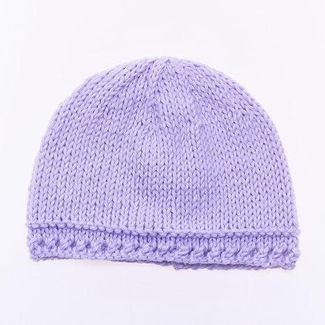 06864f314045 Bonnet de Naissance Bébé Fille en Coton Fait Main - Nouveau-né Violet
