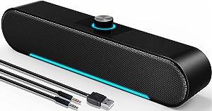 Computer Speakers,LENRUE Wired Connection + Bluetooth 5.0 Soundbar, Stereo USB Powered Soundbar Speaker for PC Laptop Tablets Desktop (3.5mm+Bluetooth)