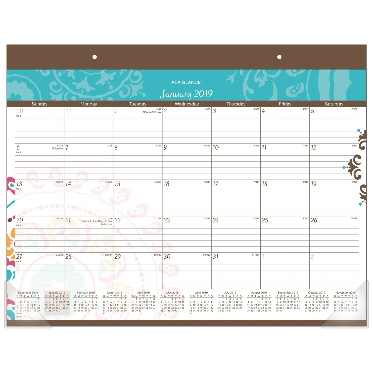 AT-A-GLANCE Monthly Desk Pad Calendar, January 2019 - December 2019, 21-3/4'' x 17'', Suzani (SK17-704)