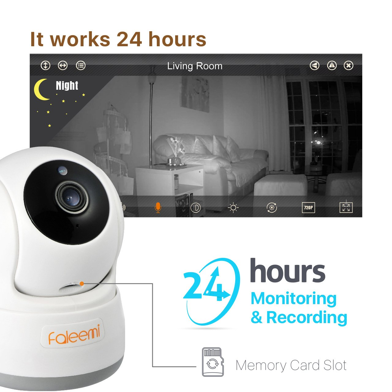 Faleemi HD Pan/Tilt Wireless WiFi IP Camera, Home Security Video Surveillance Camera with Two Way Audio, Night Vision for Baby/Elder/Pet/Office Monitor Nanny Cam FSC776W (White) by faleemi (Image #3)