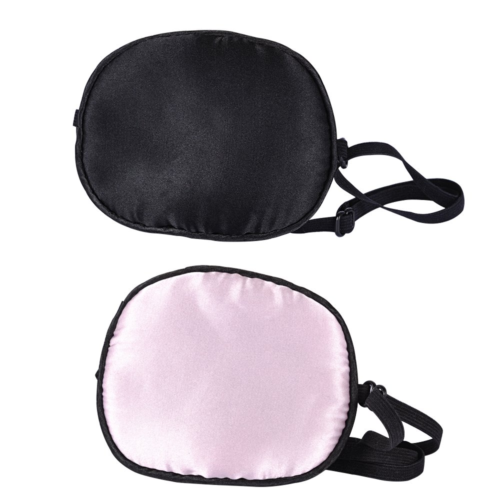 eZAKKA 2 Pieces Silk Eye Patch Elastic Eye Patches Lazy Eye Patches for Adults Lazy Eye Amblyopia Strabismus, Black and Pink by eZAKKA