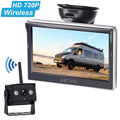 Emmako HD 720P Digital Wireless Backup Camera With 5'' Monitor System For Trailer,Truck,RV,Motorhome,High-Speed Observation Camera Adjustable Rear/Front View, Guide Lines ON/Off,IP69K Waterproof: Car Electronics