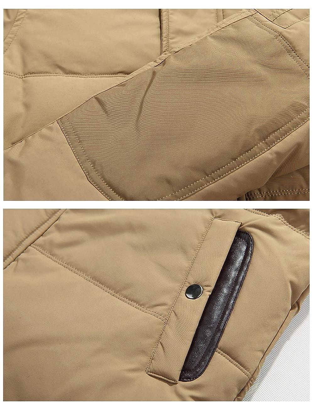GLESTORE Doudoune Homme Hiver Chaud Manteaux Parka épais Veste Fourrure avec Capuche Militaire Blousons XS-XL T1-orange