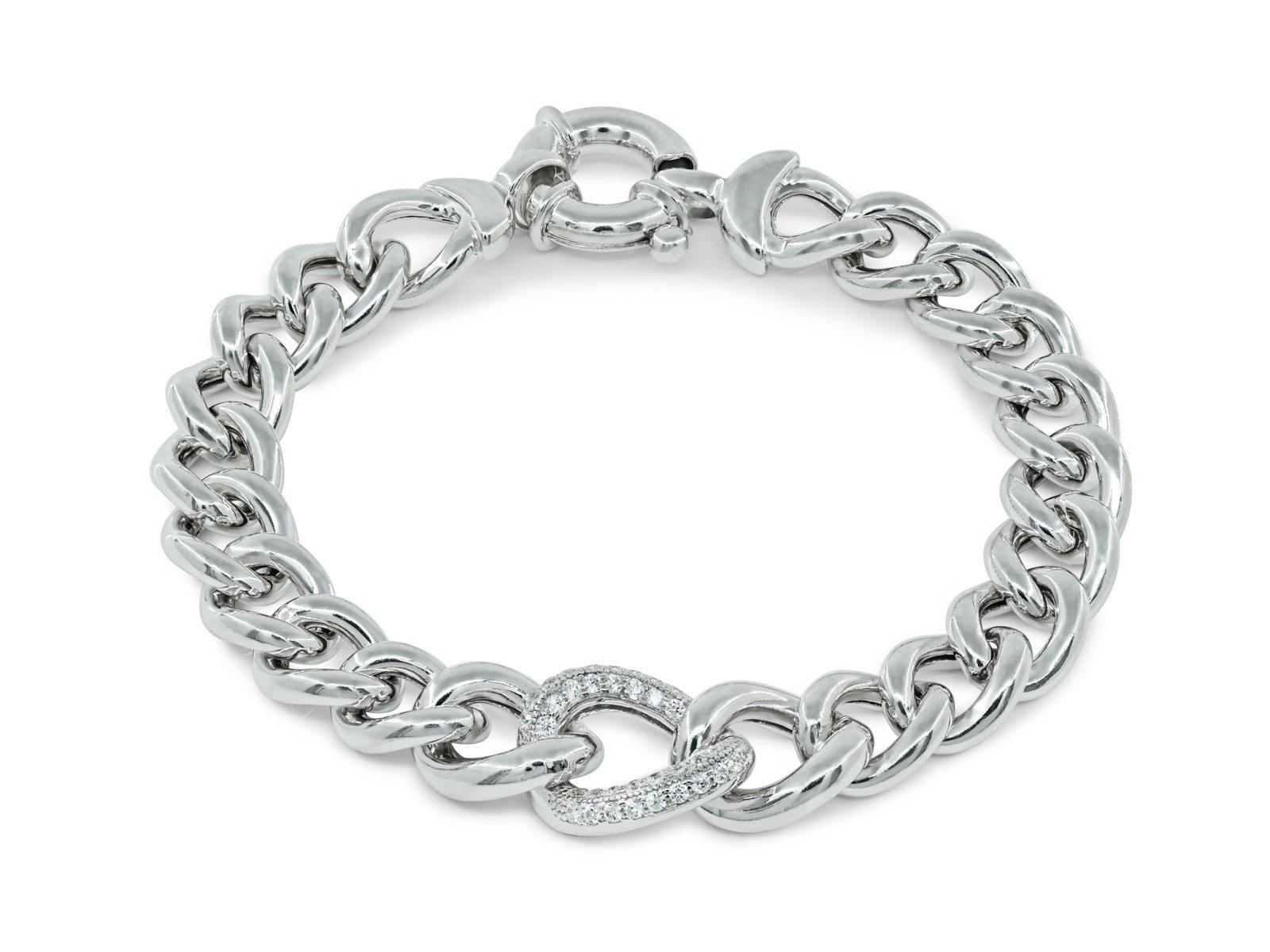 Fronay Co .925 Sterling Silver Veneto Style CZ Curb Links Bracelet