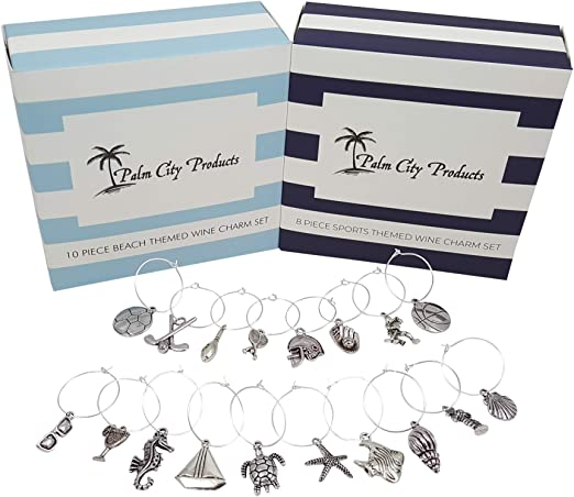 and World Traveler Themes 28 Pieces Total includes Beach Deluxe Wine Charm Set Wine Lover