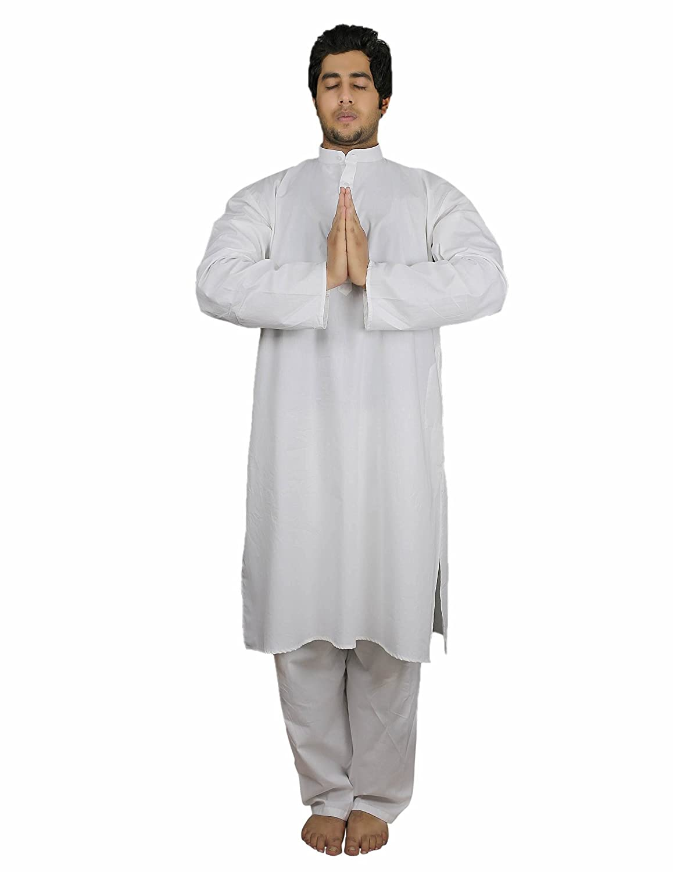 Handmade White Cotton Mens Kurta Pajamas Set