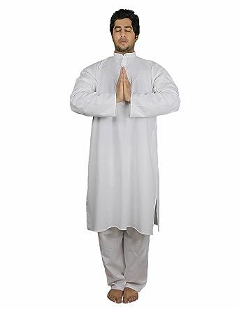 Handmade White Cotton Mens Kurta Pajamas Set - Traditional Indian Costume - Perfect for Casual Summer