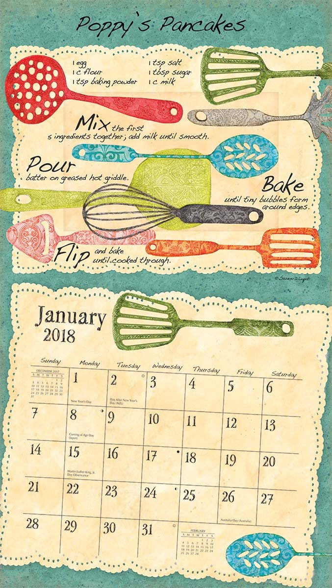 """Amazon.com : LANG - 2018 Wall Calendar - """"American Kitchen"""" - Artwork by  Susan Winget - 12 Month - Open Size, 13 3/8"""" X 24"""" : Office Products"""