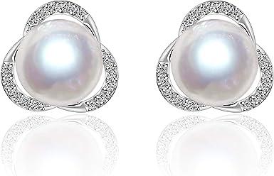 Natural Freshwater Pearl Stud earrings 925 Sterling Silver Earrings....