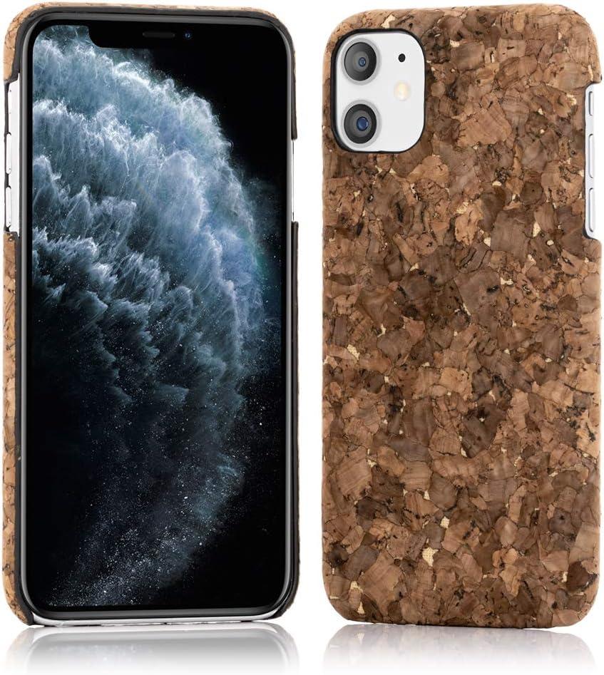 NALIA Cork Case Compatible with iPhone 11, Slim Hardcase Protective Natural Wood Cover Mobile Phone Skin, Shockproof Bumper Design Back Protector Nature Phonecase Shell, Motiv:Dark Cork