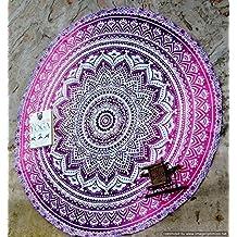 "Handicrunch Marry Christmas Round Roundie Yoga Mat Indian Mandala Round Roundie Beach Throw Tapestry Hippy Boho Gypsy Cotton Table Cover Beach Towel , Beach Towel Throw , Round Yoga Mat 42"""
