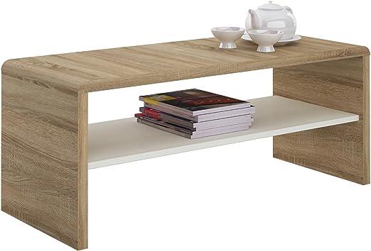 Idimex Table Basse Noelle Table De Salon Rectangulaire Ou Meuble Tv De 120 Cm Avec 1 Etagere Espace De Rangement Ouvert En Melamine Decor Chene