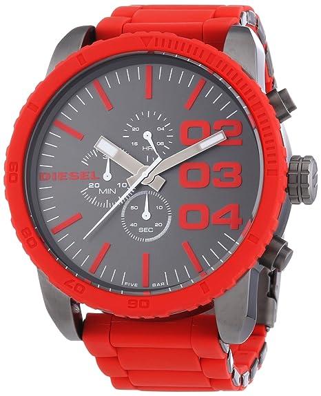 7515522cb6cf Diesel cronógrafo II Double Down rojo de silicona Mens Watch DZ4289 ...