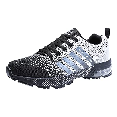 Mens Womens Sports Air Bubble Trainers Fitness Athletic Shoes Shock  Absorbing 3cm Sneakers Black Black&White Blue