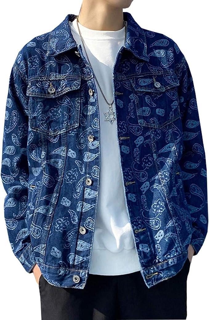Gジャン デニムジャケット メンズ 日系 ヴィンテージ ヒップホップ かっこいい 春秋 防風 防寒 ジージャン 大きいサイズ ゆったり ストレッチ 快適 合わせやすい プリント柄 ブラック/ブルー M-5XL